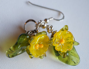 Flowers Drop Earrings - Transparent Yellow