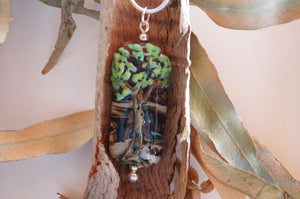 Twilight Tall Tree Pendant - Lampwork glass, landscape design with tree