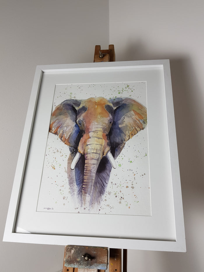 "Original Elephant Watercolour 'Amos' - 16.5"" x 12"" #3023"