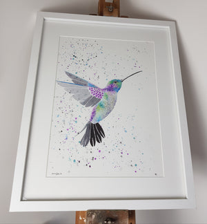 "Original Hummingbird Watercolour 'Sparkle' - 16.5"" x 12"" #3024 - SkinnyDaz Art, Design & Illustration"