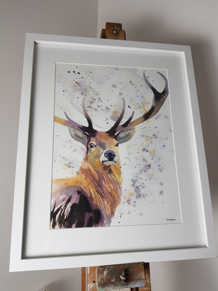 "Original Stag Watercolour 'Solomon' - 16.5"" x 12"" #3031"