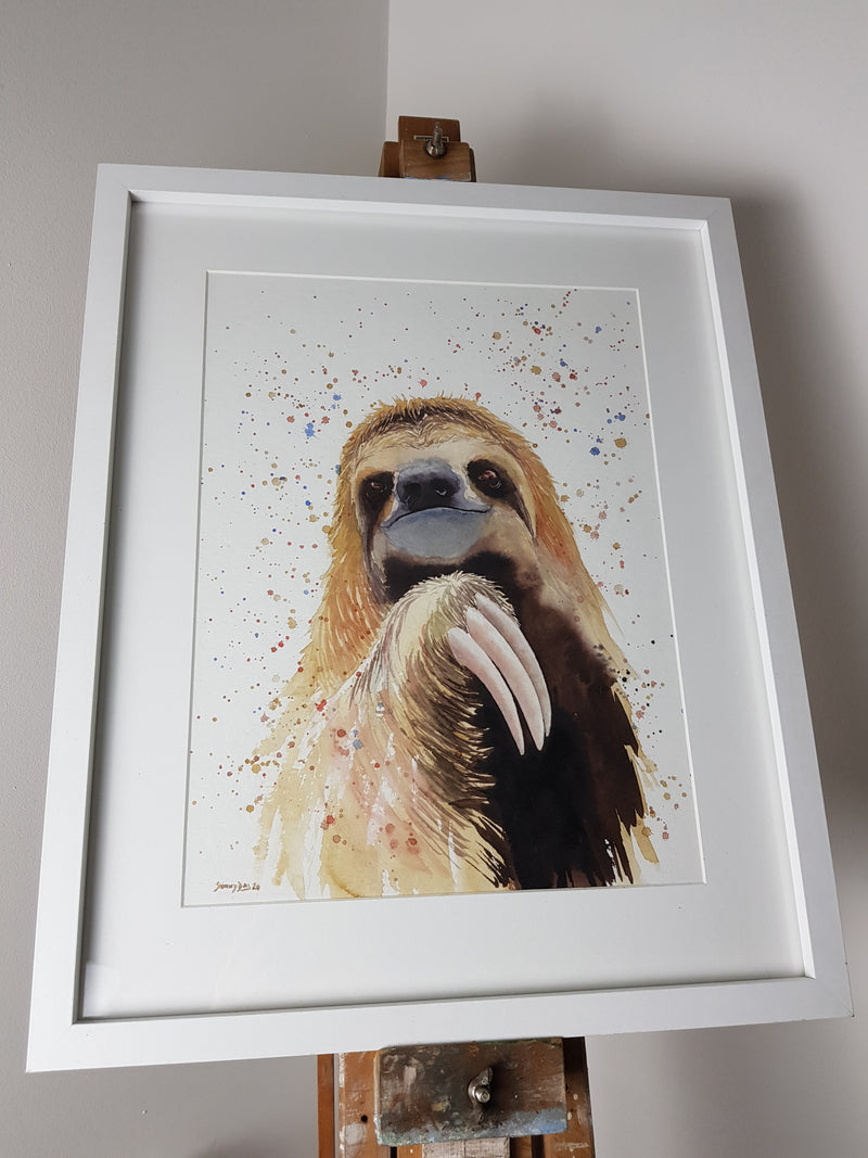 "Sloth Watercolour 'Sonny' - 16.5"" x 12"" #3037 - SkinnyDaz Art, Design & Illustration"