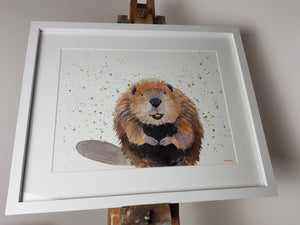 "Beaver Watercolour 'Roland' - 16.5"" x 12"" #3042 - SkinnyDaz Art, Design & Illustration"