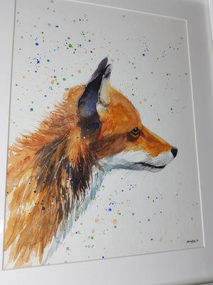 "Fox Watercolour 'Stanley - 16.5"" x 12"" #3044 - SkinnyDaz Art, Design & Illustration"