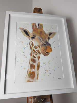 "Giraffe Watercolour 'Geraldine' - 16.5"" x 12"" #3050 - SkinnyDaz Art, Design & Illustration"