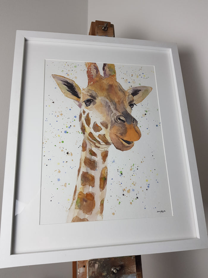 "Giraffe Watercolour 'Geraldine' - 16.5"" x 12"" #3050"