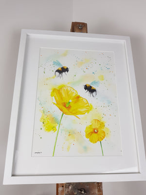 "Bees & Welsh Poppies Watercolour 'Mellow Yellow' - 16.5"" x 12"" #3054"