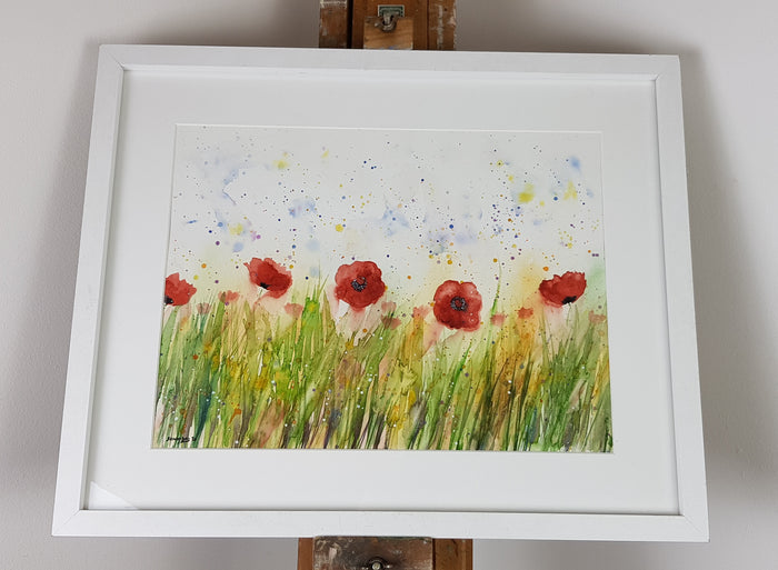 "Poppies Watercolour 'Meadow Pride' - 16.5"" x 12"" #3068"