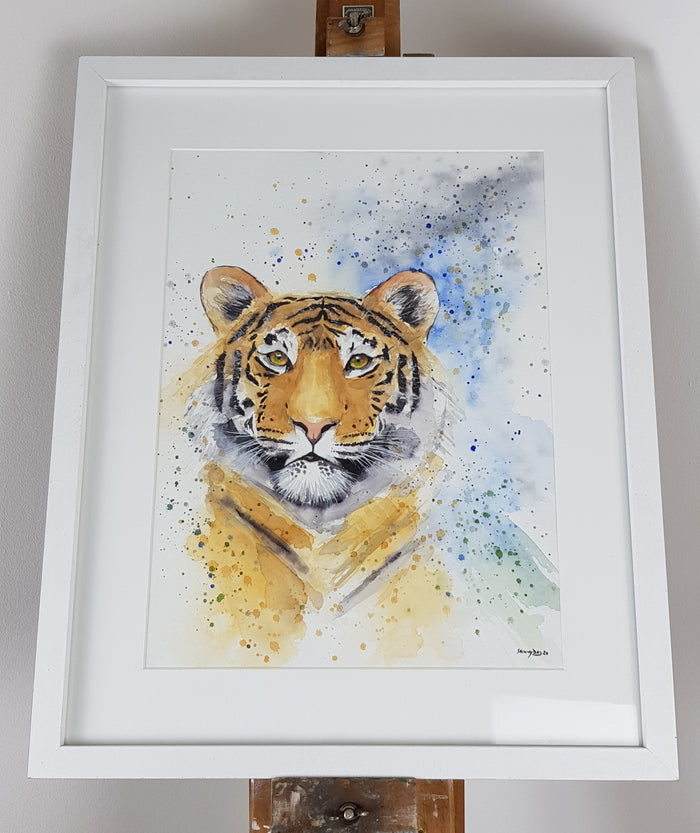 "Tiger Watercolour 'Zelda' - 16.5"" x 12"" #3075"