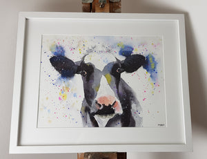 "Cow Watercolour 'Glasto Girl' - 16.5"" x 12"" #3076"
