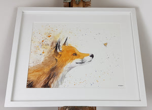 "Fox Watercolour 'Freya and the Butterfly' - 16.5"" x 12"" #3089"