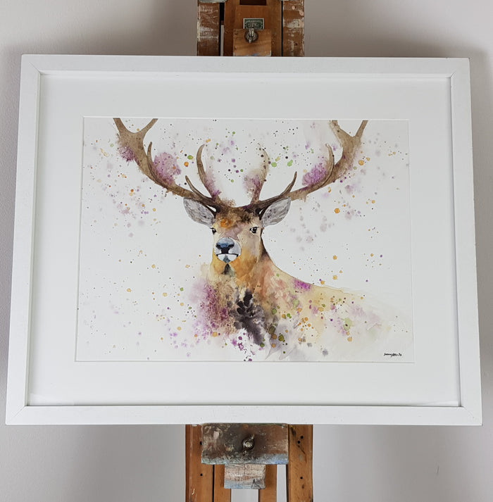 "Stag Watercolour 'Alexander' - 16.5"" x 12"" #3091"