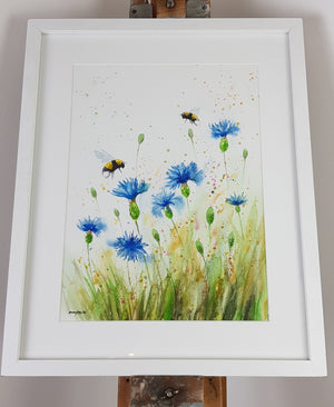 "Cornflower & Bees Watercolour - 'Meadow Blue' 16.5"" x 12"" #3130"