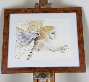 "Barn Owl Watercolour - 'Barnaby' 16.5"" x 12"" #3147"