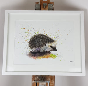 "Hedgehog Watercolour - 'Conker' 17"" x 12"" #3153"