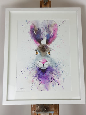 "Hare Watercolour 'Purple Rain' - 17"" x 12"" #3156"