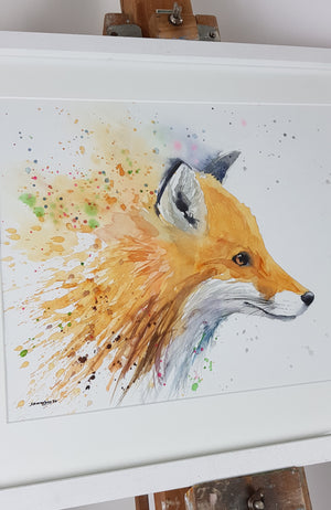 "Fox Watercolour 'Rocket' - 17"" x 12"" #3171"