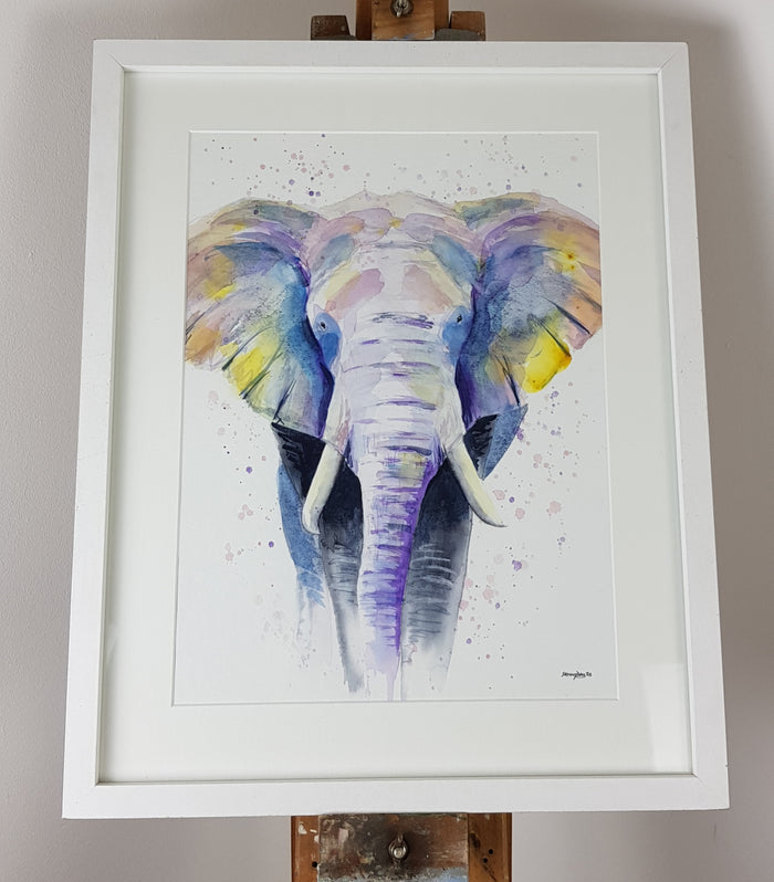 "Elephant Watercolour 'Eric'   - 17"" x 12"" #3186"