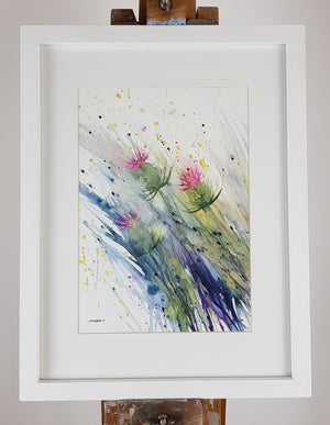 "Thistles Watercolour - 'Thistles in a breeze' 12"" x 9 (A4)"" #3250"