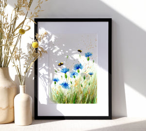 Cornflower & Bee Print - NEW IN