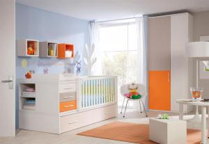 Later converts into a single bed with pull out drawer on wheels, 3 drawer chest of drawers, large playpen, pedestal and a bookshelf.