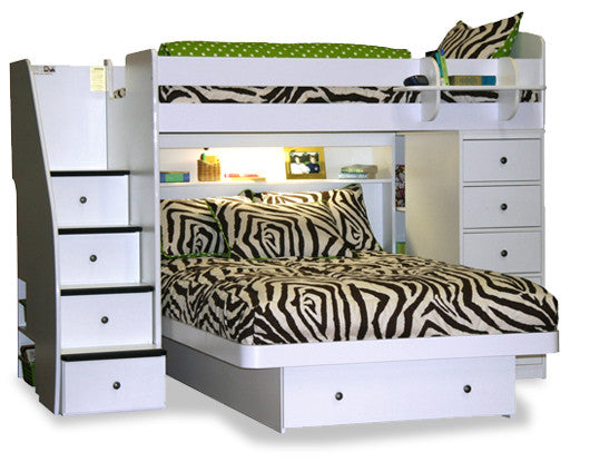 L shaped combination bunk