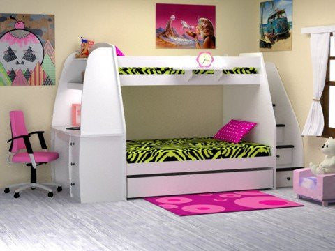 Other Furniture Bunk Bed With Study Single Over Double With
