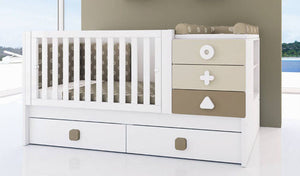 COMBO 5in1 convertible cot (Basic), transition set, cot mattress and changing tray - Classic Designs