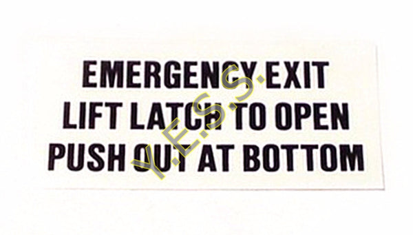 9FA Emergency Exit Instructions Decal - Yost Equipment Sales