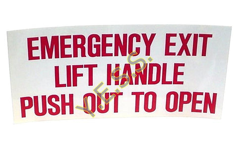 205FA Emergency Exit Window Instructions Decal - Yost Equipment Sales