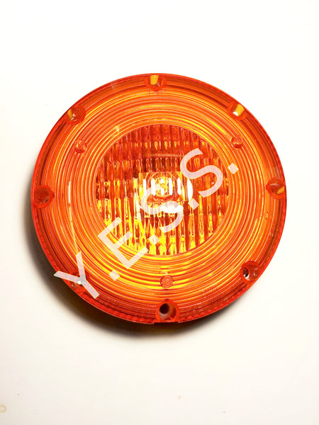 "1080S-2 Amber 7"" Stainless Steel Overhead Warning Lamp - Yost Equipment Sales"