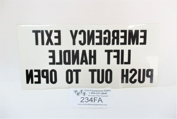 234FA Emergency Exit Window Instructions Decal