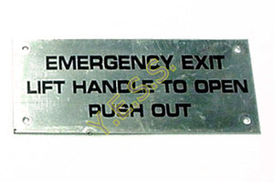 2001-9379 Emergency Exit Window Instructions On Metal Plate - Yost Equipment Sales