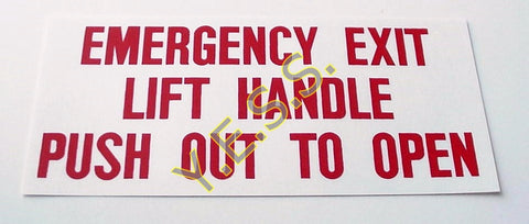 200 Emergency Exit Window Instructions Decal - Yost Equipment Sales