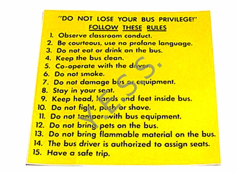 42 Bus Rules Decal - Yost Equipment Sales