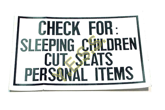 159 Check For Sleeping Children Decal - Yost Equipment Sales