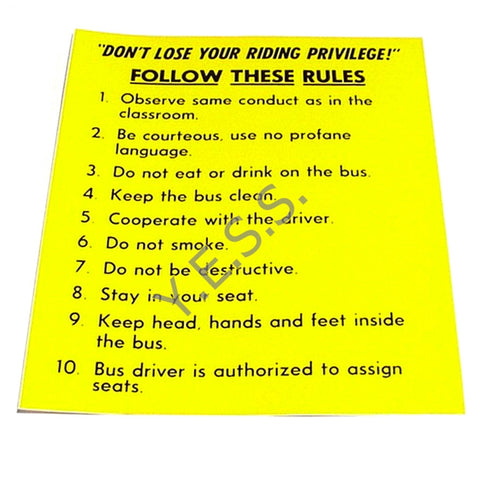 42A Bus Rules Decal - Yost Equipment Sales