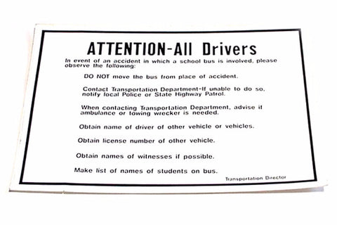 89 Attention All Drivers Decal - Yost Equipment Sales