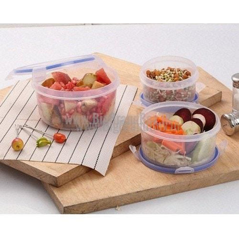 Quick Lock Round Shape set 3 Containers Lunch Box