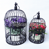 Decorative Bird Cage Round Black Iron Vintage Wedding Medium Pack Of 2 - BigBrandBox