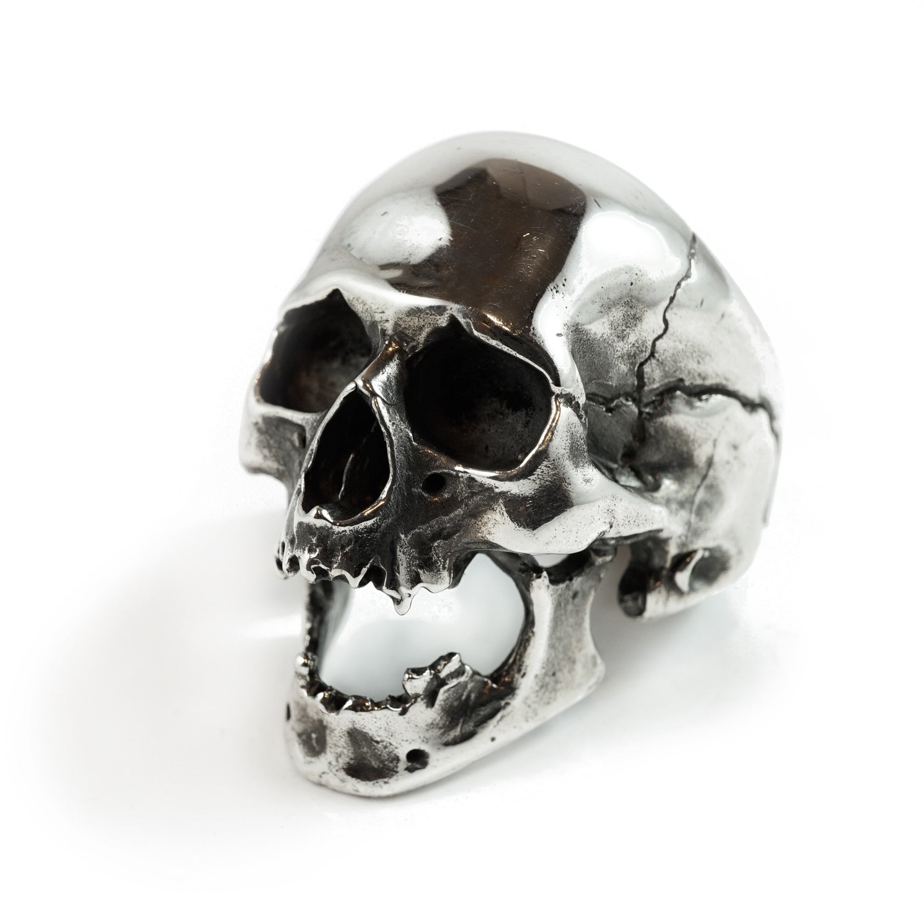 Screaming Skull Polished Silver