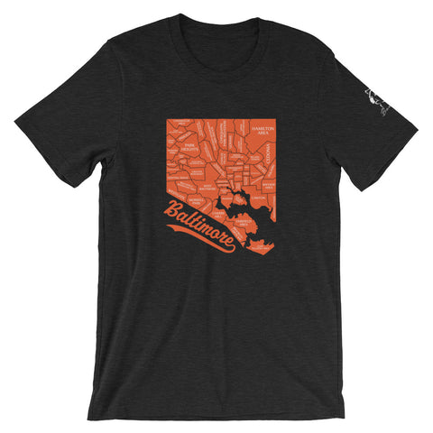Charm City Map Short-Sleeve Unisex T-Shirt black heather