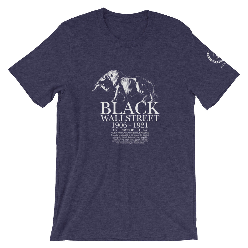 Limited Edition Black Wallstreet Short-Sleeve Unisex T-Shirt Heather Midnight Navy