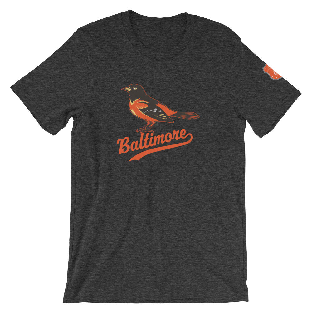 Baltimore O's Short-Sleeve Unisex T-Shirt Dark Grey Heather