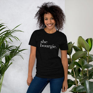 She Bourgie Short-Sleeve Unisex T-Shirt front black heather