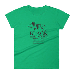Women's Black Wall Street short sleeve t-shirt Heather Green