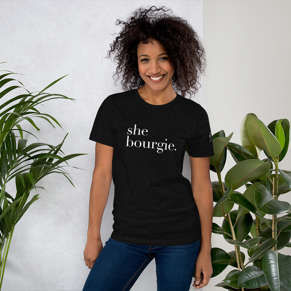 She Bourgie Short-Sleeve Unisex T-Shirt front dark grey heather