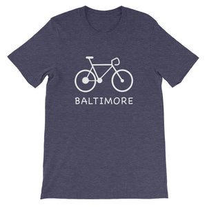Bike for Baltimore t-shirt heather midnight navy