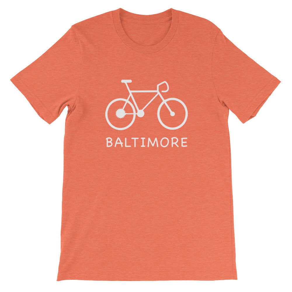 Bike for Baltimore t-shirt heather orange