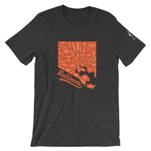 Charm City Map Short-Sleeve Unisex T-Shirt dark grey heather